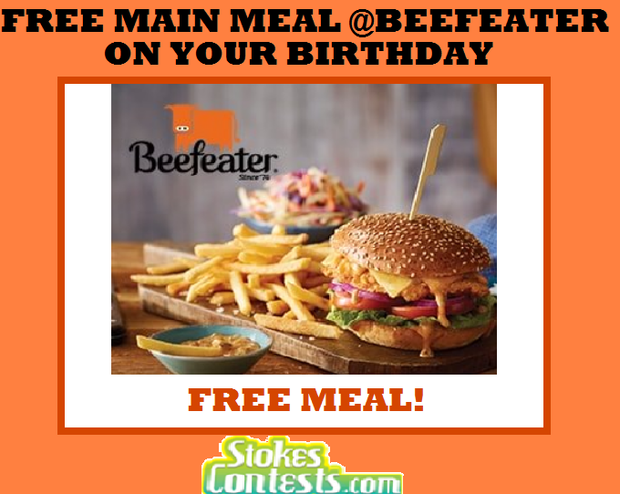 Image FREE Main Meal at Beefeater on Your Birthday