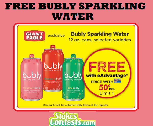 Image FREE Bubly Sparkling Water