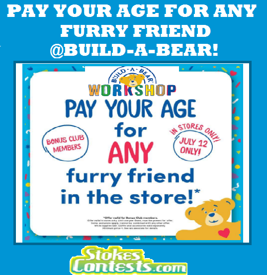 Image Pay Your Age for ANY Furry Friend @Build-A-Bear