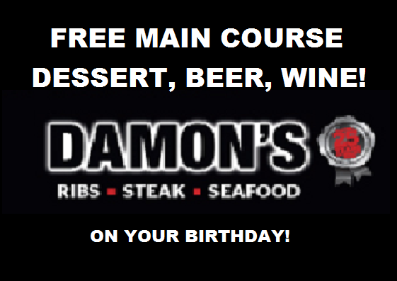 Image FREE Meal, Dessert, Beer at Damon's Restaurant on Your Birthday