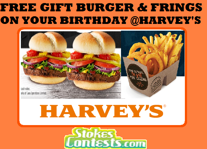 Image FREE Gift Burger & FREE Frings On Your Birthday @Harvey's