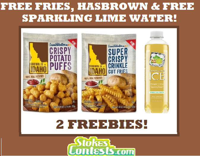 Image FREE Bag of Fries, Hashbrowns, Potato Puffs & FREE Sparkling Ginger Lime Water! TODAY ONLY!