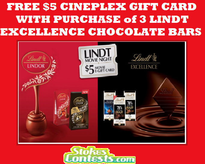 Image FREE $5 Cineplex Gift Card with Purchase of 3 Lindt Excellence Chocolate Bars!