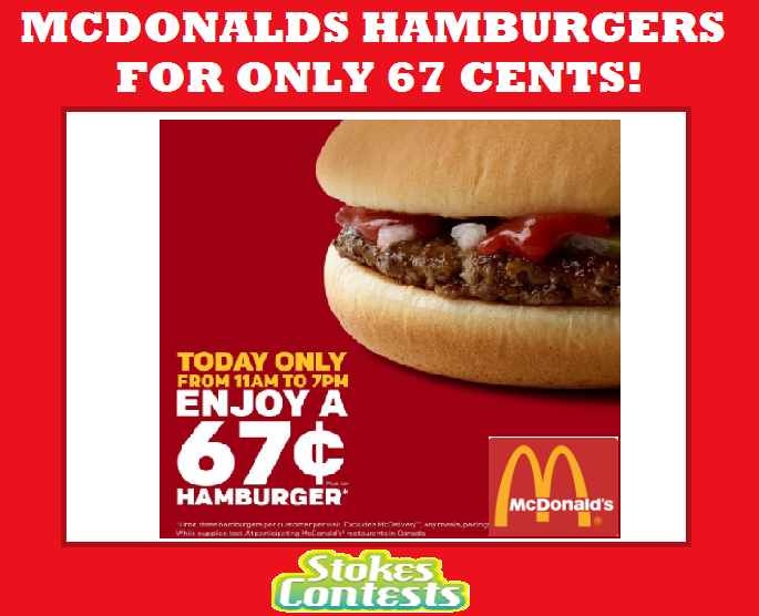 Image McDonald's Hamburgers for ONLY 67 CENTS! TODAY ONLY!