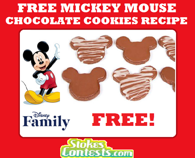 Image FREE Mickey Mouse Chocolate Cookies Recipe.