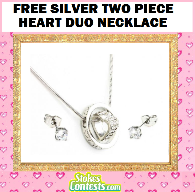 Image FREE Silver Two Piece Heart Duo Necklace