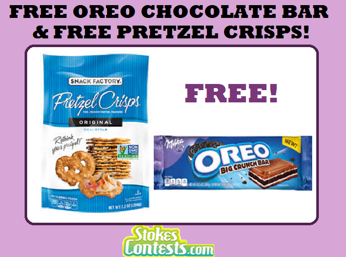 Image FREE Oreo Chocolate Bar & FREE Pretzel Crisps TODAY ONLY!