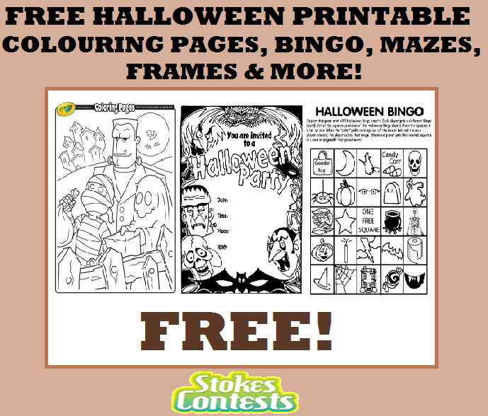 Stokes Contests Freebie Free Printable Halloween Colouring Pages