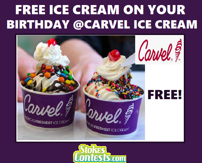 Image FREE Ice Cream on Your Birthday @Carvel Ice Cream